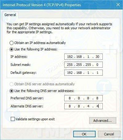 Nhập IP như hình